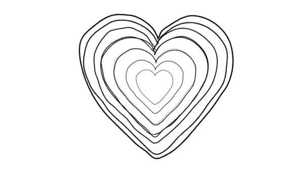 Black Heart shape echoed line art sequence on white