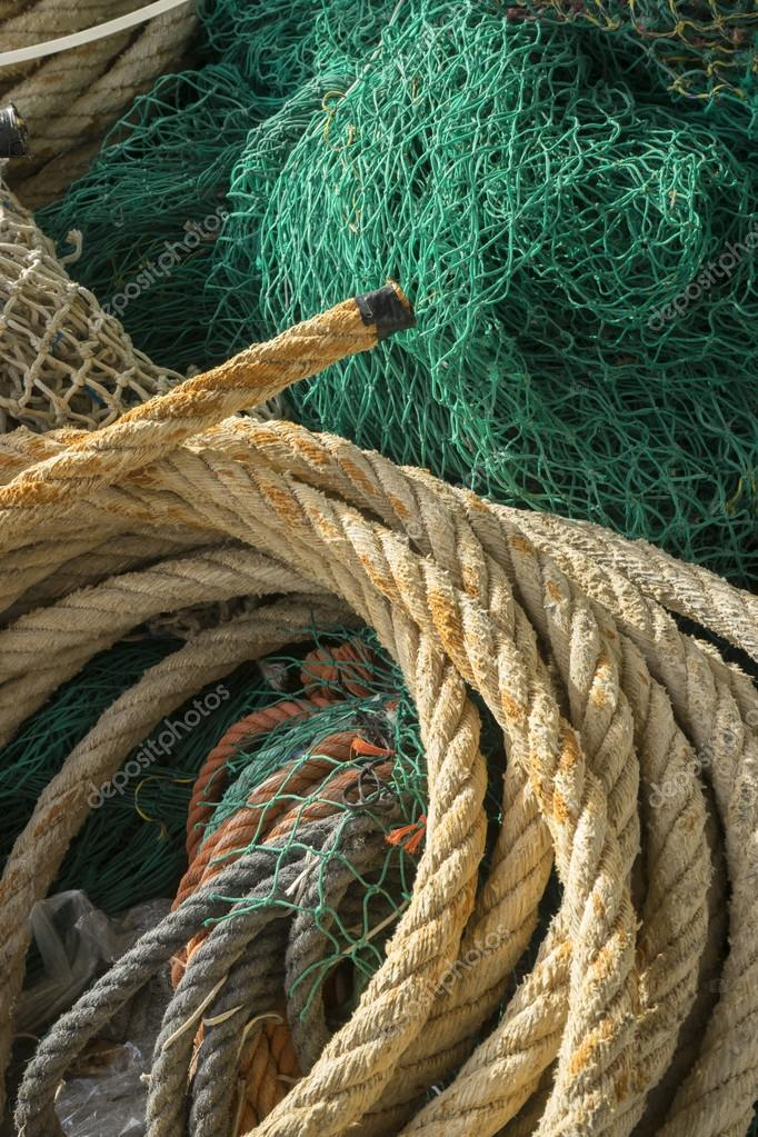 rigs and fishing nets with a port in Mallorca, Spain. Detail of