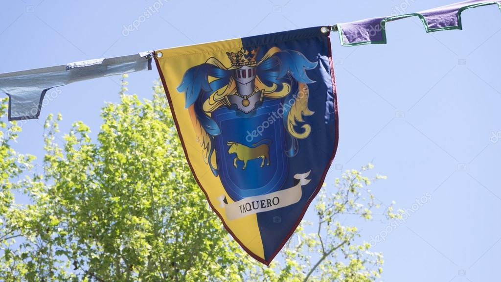 europe, medieval coats of arms in a traditional ancient art fair