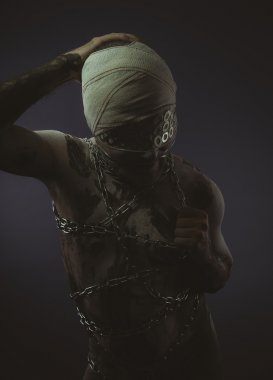Man with chains and blindfolded