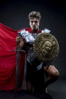 Conqueror, centurion or Roman warrior with iron armor, military