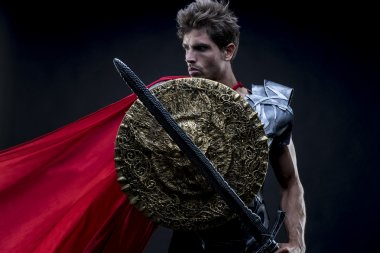 Power, centurion or Roman warrior with iron armor, military helm