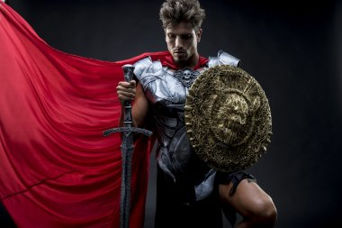 Conqueror, centurion or Roman warrior with iron armor, military