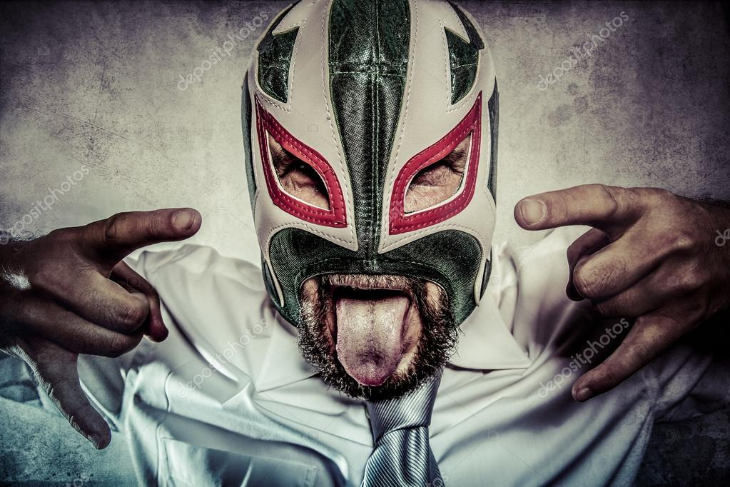 Man in Mexican wrestler mask