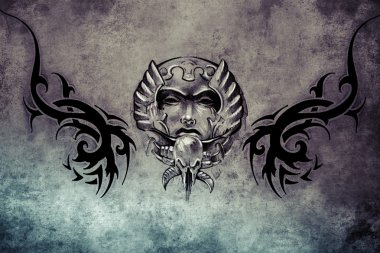 Tattoo design over grey background