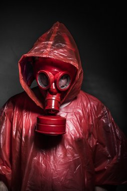 Man with red gas mask