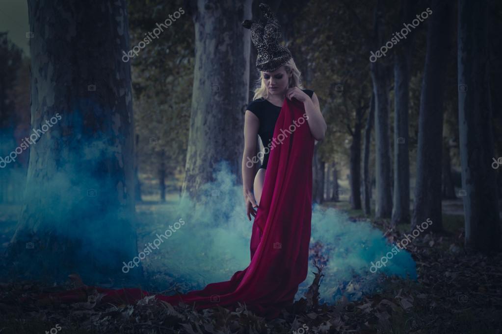 Fallen angel in black dress