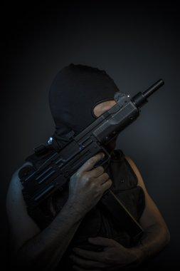 Man  holding  firearms