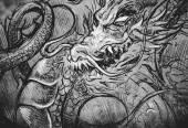 Fotografia Illustrazione giapponese drago tatuaggio testa