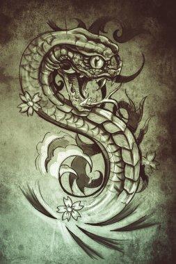 tattoo snake illustration, handmade draw over vintage paper