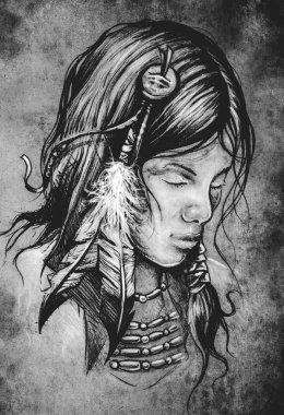 American indian woman tattoo illustration