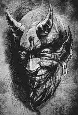 tattoo devil hell, illustration