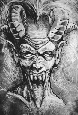 devil head gothic tattoo illustration