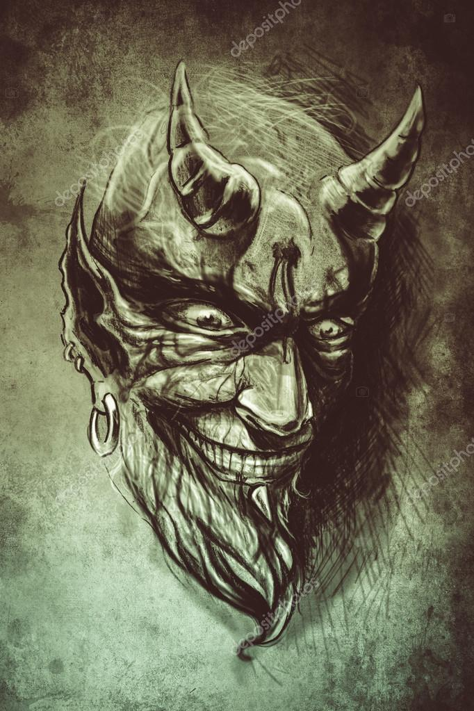 Tatouage diable illustration la main dessiner sur papier vintage photographie outsiderzone - Dessiner un diable ...