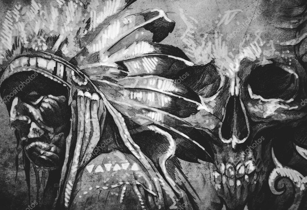 Croquis De Tatouage De Guerrier De Chef Tribaux Indiens D Amerique