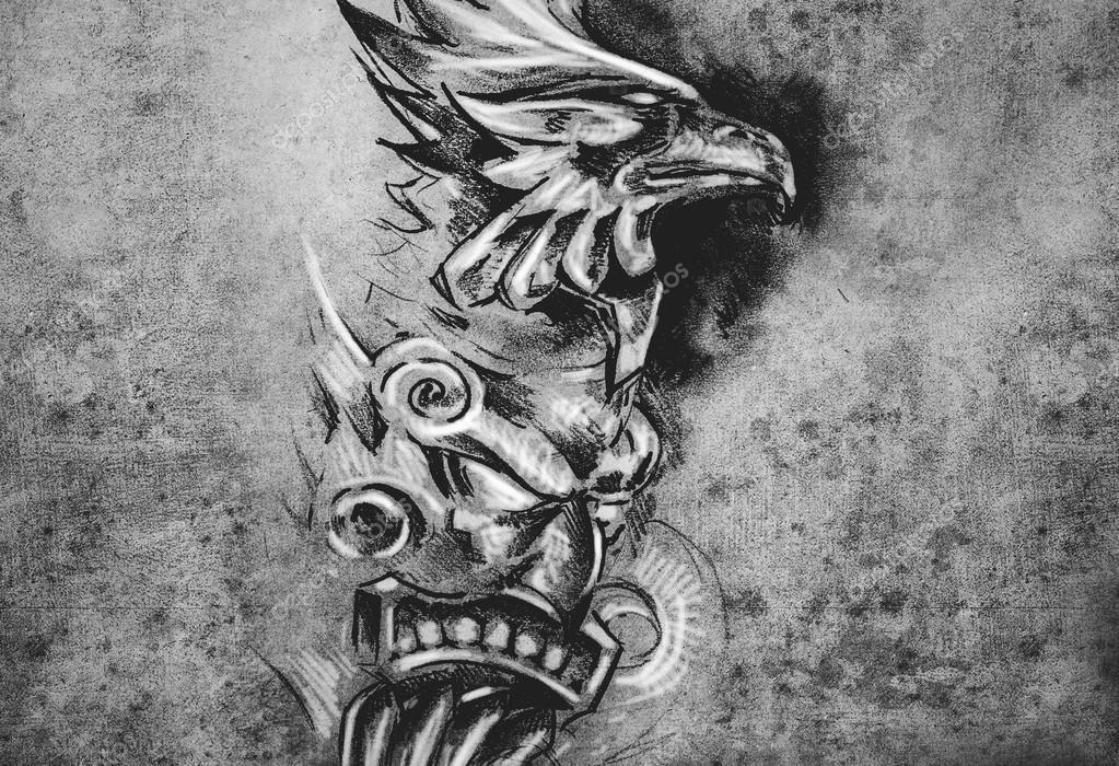 Gargoyle And Totem Tattoo Illustration Stock Photo