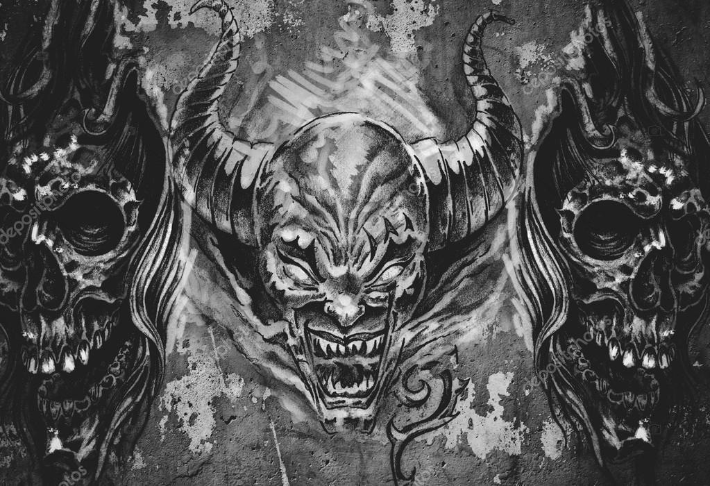 3 Demony Tatuaż Ilustracja Zdjęcie Stockowe Outsiderzone
