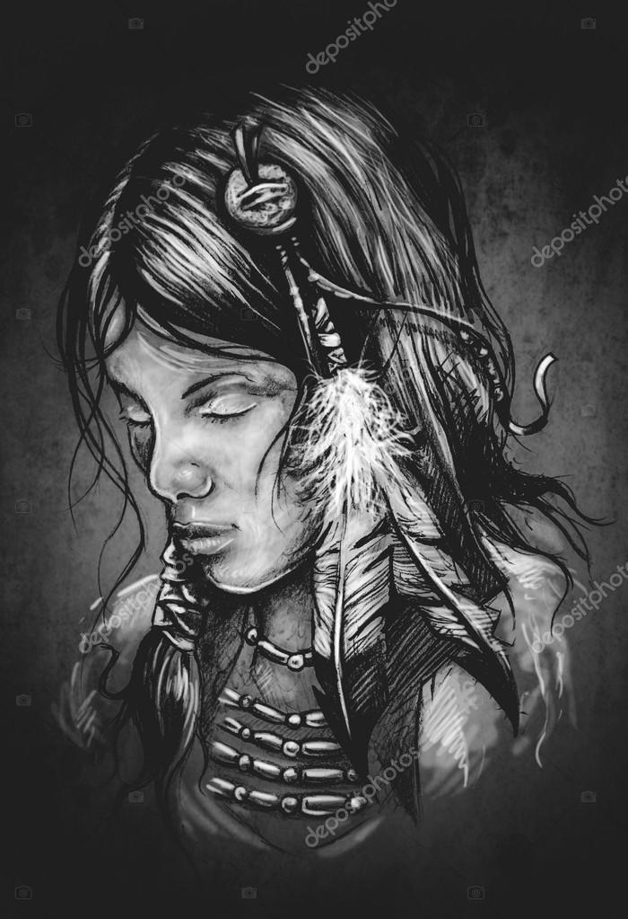 Illustraion D Amerindiennes Femme Tatouage Photographie