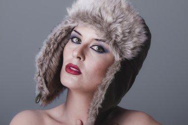 Woman in furry winter hat