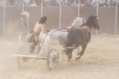 Power, Roman chariots in the circus arena, fighting warriors and