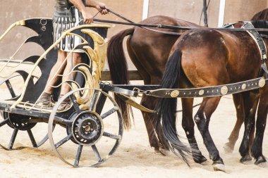 Roman chariot on gladiators fight