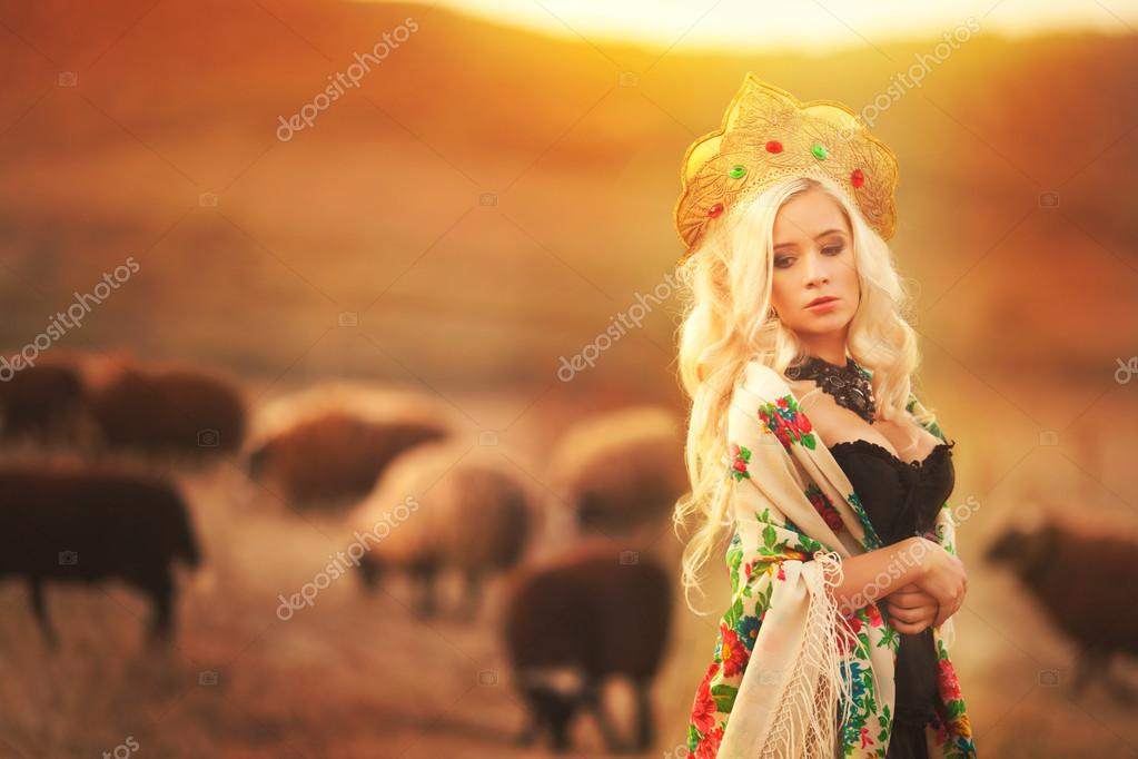 Woman in the National Russian headdress