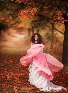 Girl in a pink dress with a cloak in the  forest