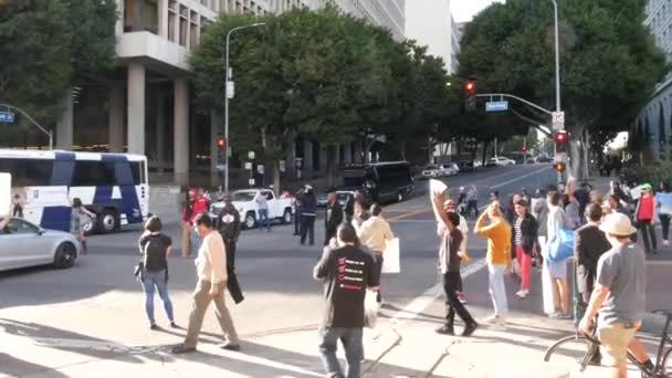 LOS ANGELES, CALIFORNIA, USA - 30 OCT 2019: People strike near Hall of Justice. Protest picket in front of Sheriff's Department and Courthouse. Demonstration of activists near LA government building.