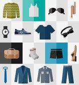 Fényképek Az ikonok, lapos férfi ruhák és kiegészítők