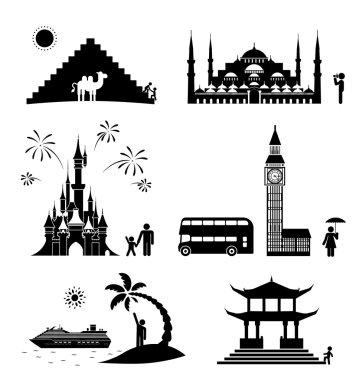 Travel icons.