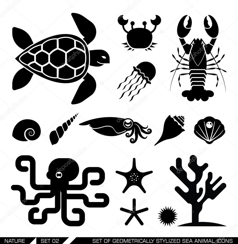 Set of geometrically stylized sea animal icons