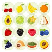 Set of different kinds of fruit icons.