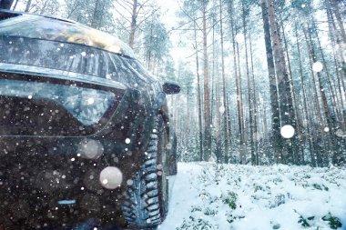 Concept of winter car ride
