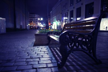outdoor bench in city