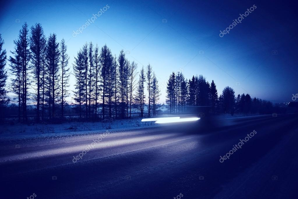 Night traffic in winter city