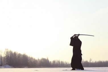 Japanese ninja winter portrait