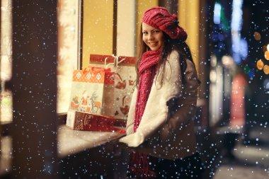 Girl on Christmas discounts shopping