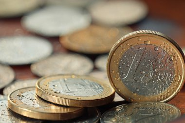 Euro and ruble  coins background