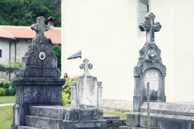 Graves in  Orthodox monastery Moraca. Montenegro. stock vector