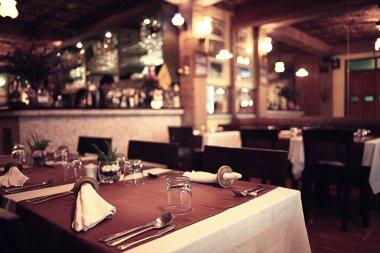 Served table ready for dinner  in luxury restaurant stock vector