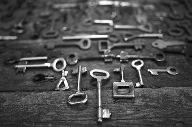 Keys on wooden background