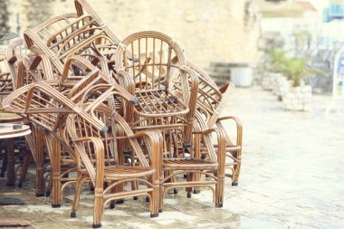 stack of wooden chairs