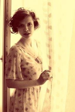 vintage sepia portrait of girl