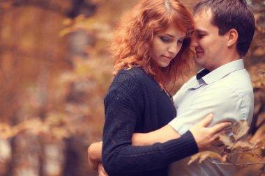 Autumn couple love walk