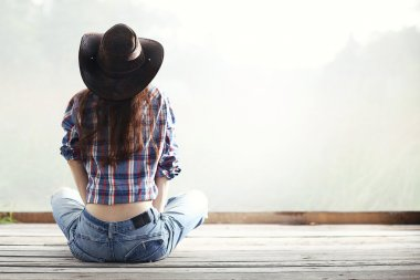 woman on wild west white background