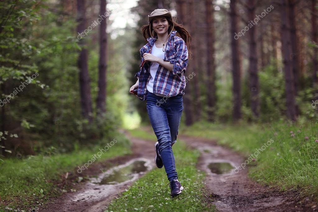 running girl forester in nature