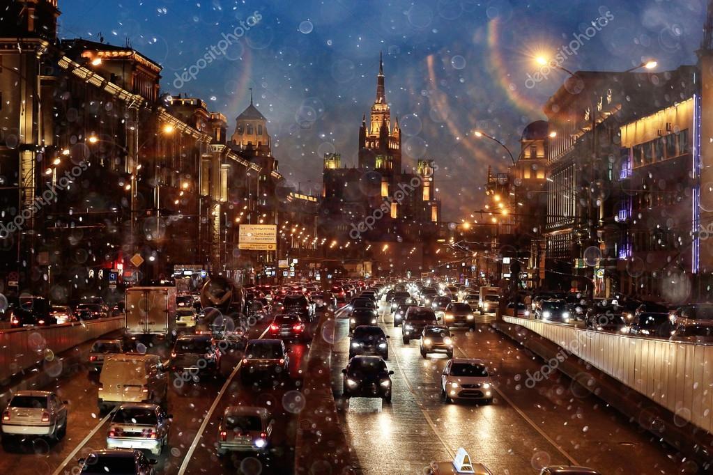 Gece şehir Arka Plan Ile Bulanıklık Arka Plan Yol Stok Foto