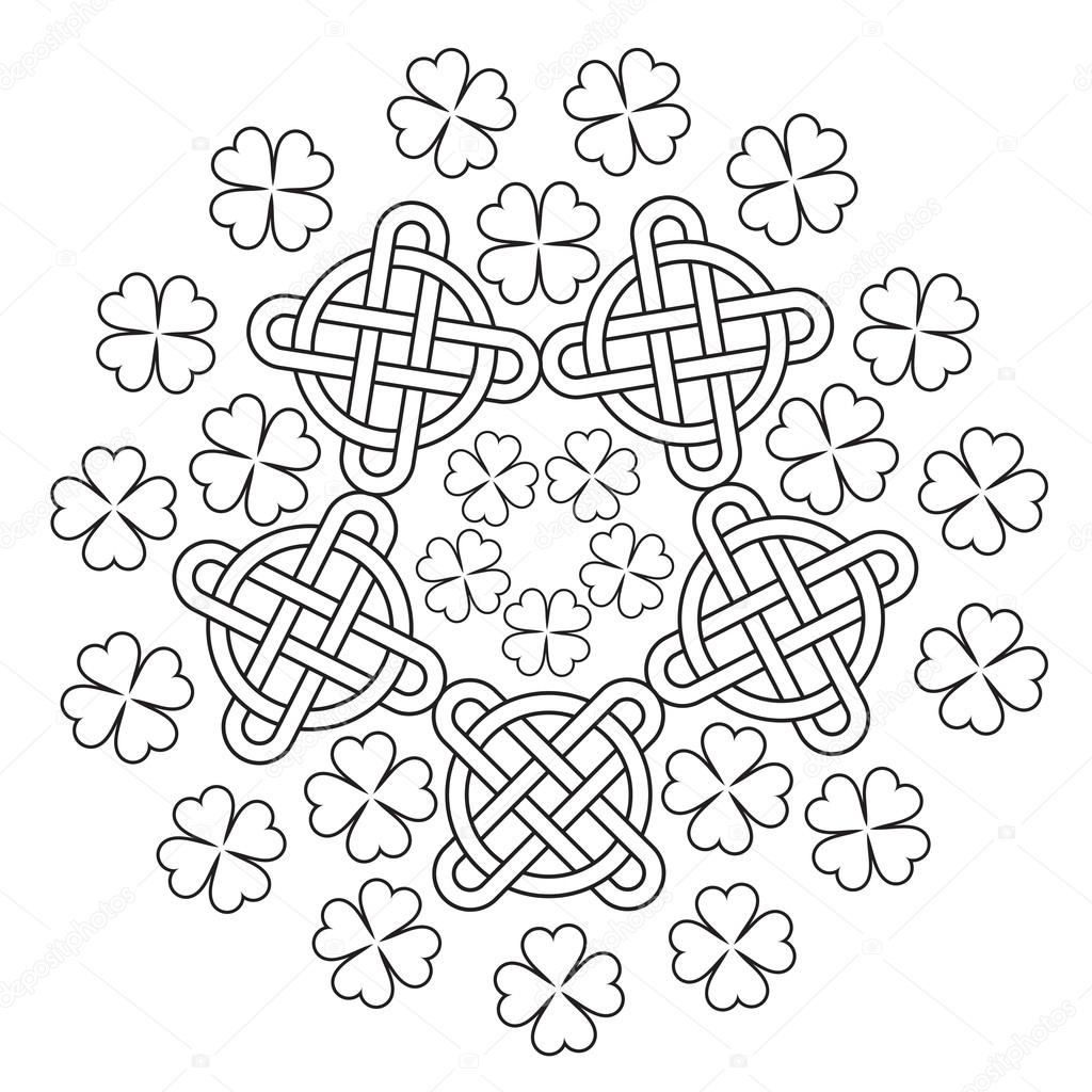 Mandala céltico con adorno de nudo y el trébol de 4 hojas — Vector ...