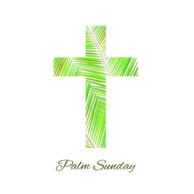 Palm Sunday cross isolated on white background.