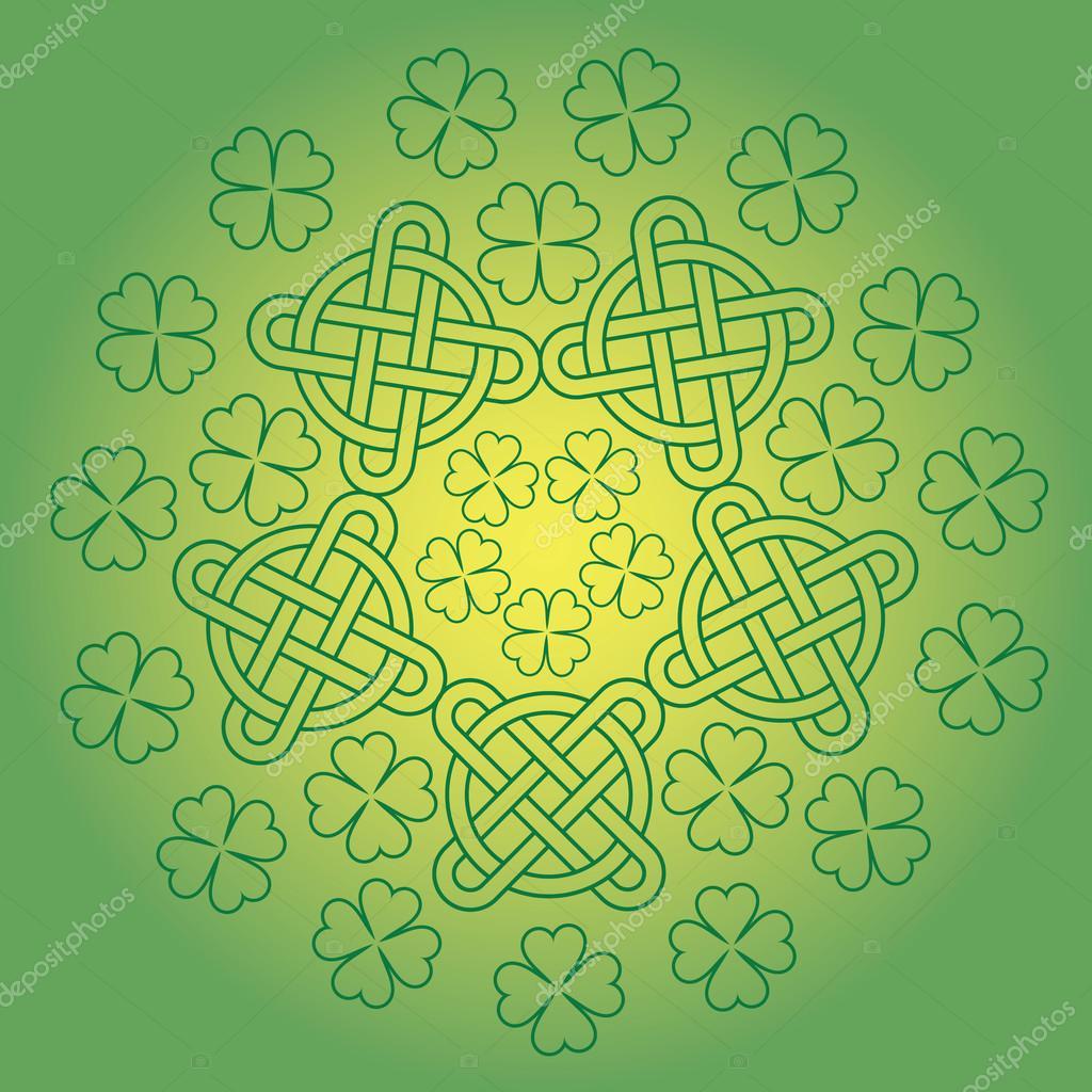 Fondo de día s de St. Patrick con adorno de nudo y el trébol ...